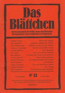 """""""Arbeit ist das halbe Leben"""" in """"Das Blättchen"""" 12/2005"""