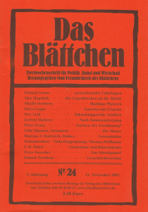 """""""Narretei  mit Ursache"""" in """"Das Blättchen"""" 24/2005"""