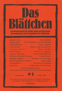"""""""Beim Weltsozialforum"""" in """"Das Blättchen"""" 5/2004"""