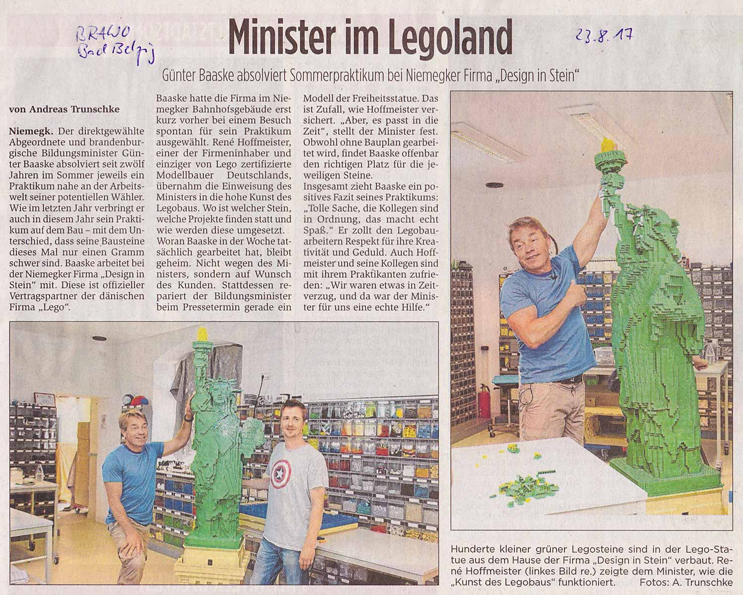 Günter Baaske, Lego, Design in Stein