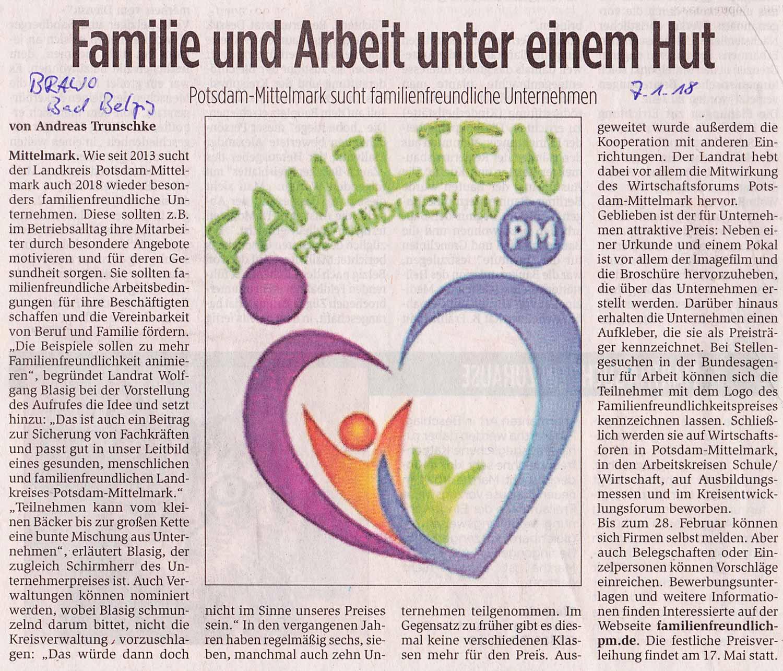 Familienfreundliche Unternehmen Potsdam-Mittelmark